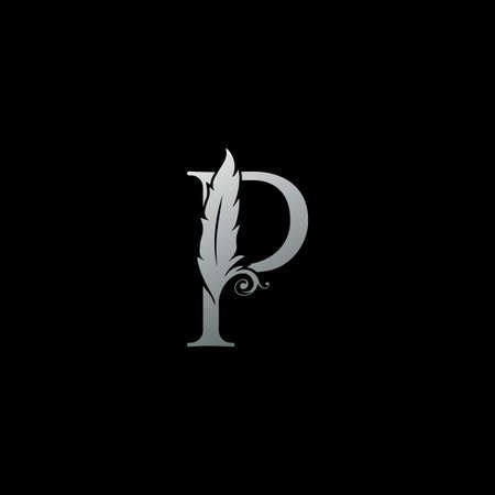 Luxury Feather Letter P logo Icon. Monogram logo template design concept for identity of law, lawyer, legal officer, firm, notary 向量圖像