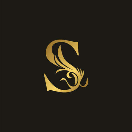 Golden Luxury Swirl Ornate Initial Letter S logo icon, vector letter with ornate swirl deco clip art template design. Logo