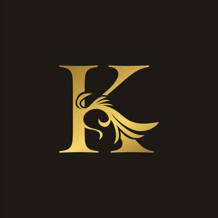 Golden Luxury Swirl Ornate Initial Letter K logo icon, vector letter with ornate swirl deco clip art template design.