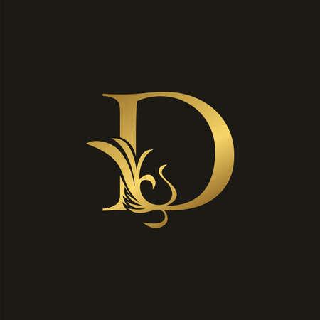Golden Luxury Swirl Ornate Initial Letter D logo icon, vector letter with ornate swirl deco clip art template design. Logo