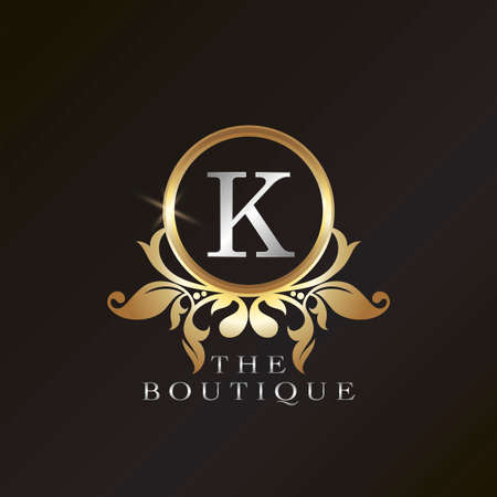 Gold Boutique K Logo template in circle frame vector design for brand identity like Restaurant, Royalty, Boutique, Cafe, Hotel, Heraldic, Jewelry, Fashion and other brand