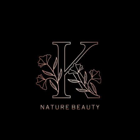 Elegance Nature Beauty Outline Flower Initial Letter K logo icon in vector ornate Flower leaf template design rose gold color. Ilustração