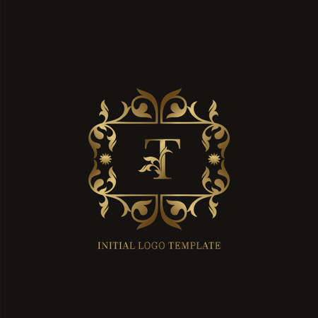 Golden T Initial logo. Frame emblem ampersand deco ornament monogram luxury logo template for wedding or more luxuries identity