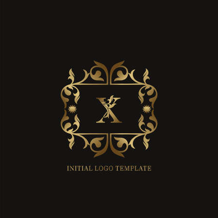 Golden X Initial logo. Frame emblem ampersand deco ornament monogram luxury logo template for wedding or more luxuries identity