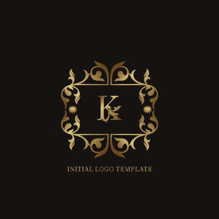 Golden K Initial logo. Frame emblem ampersand deco ornament monogram luxury logo template for wedding or more luxuries identity