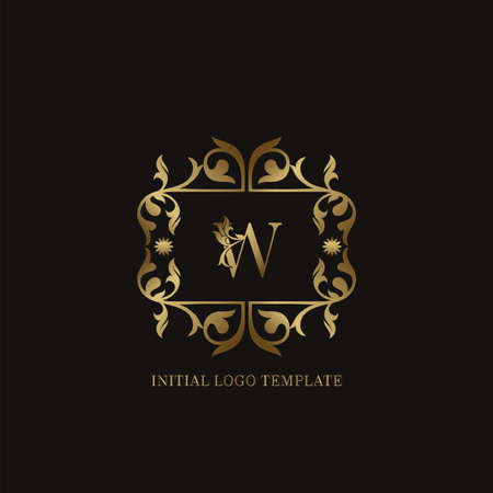 Golden W Initial logo. Frame emblem ampersand deco ornament monogram luxury logo template for wedding or more luxuries identity Vettoriali