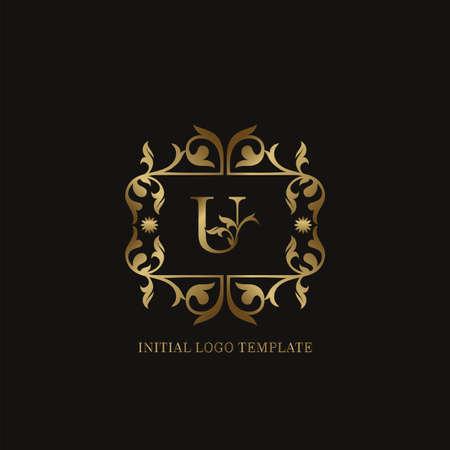 Golden U Initial logo. Frame emblem ampersand deco ornament monogram luxury logo template for wedding or more luxuries identity