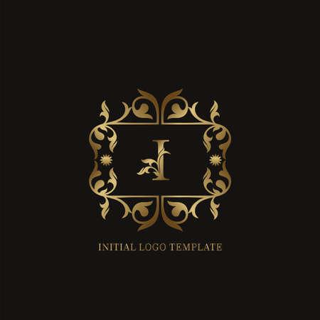 Golden I Initial logo. Frame emblem ampersand deco ornament monogram luxury logo template for wedding or more luxuries identity Vettoriali