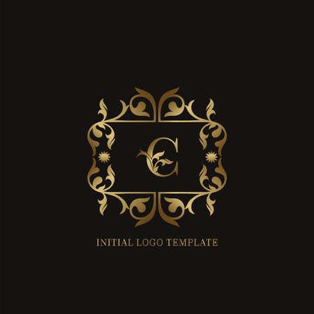 Golden C Initial logo. Frame emblem ampersand deco ornament monogram luxury logo template for wedding or more luxuries identity Vettoriali