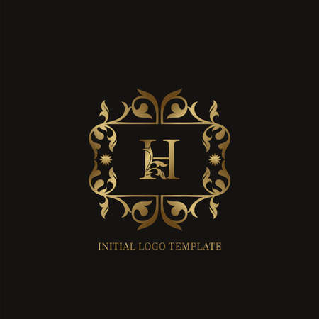 Golden H Initial logo. Frame emblem ampersand deco ornament monogram luxury logo template for wedding or more luxuries identity