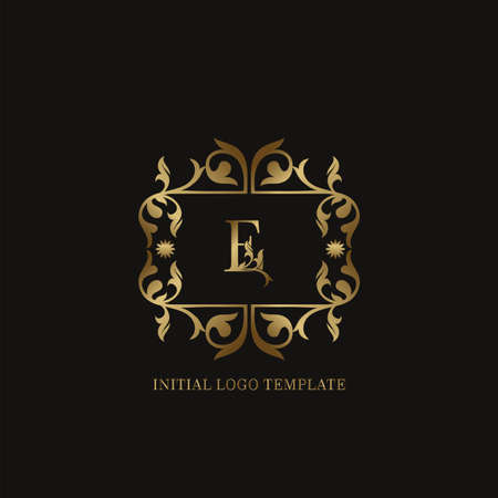 Golden E Initial logo. Frame emblem ampersand deco ornament monogram luxury logo template for wedding or more luxuries identity