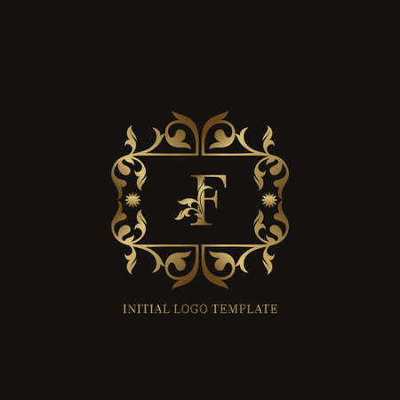 Golden F Initial logo. Frame emblem ampersand deco ornament monogram luxury logo template for wedding or more luxuries identity