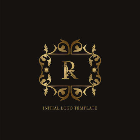 Golden R Initial logo. Frame emblem ampersand deco ornament monogram luxury logo template for wedding or more luxuries identity