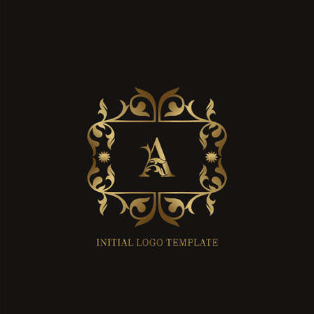 Golden A Initial logo. Frame emblem ampersand deco ornament monogram luxury logo template for wedding or more luxuries identity Vettoriali