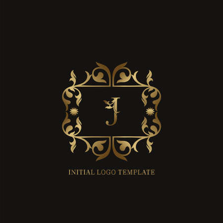 Golden J Initial logo. Frame emblem ampersand deco ornament monogram luxury logo template for wedding or more luxuries identity Vettoriali