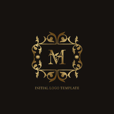 Golden M Initial logo. Frame emblem ampersand deco ornament monogram luxury logo template for wedding or more luxuries identity Vettoriali