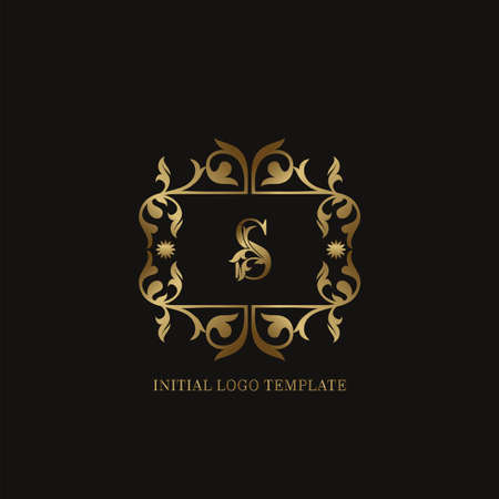 Golden S Initial logo. Frame emblem ampersand deco ornament monogram luxury logo template for wedding or more luxuries identity Vettoriali