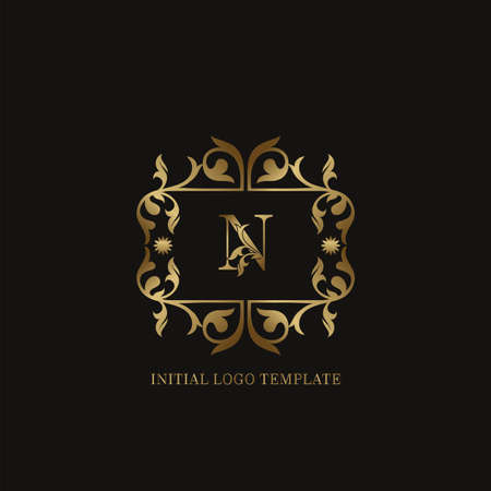 Golden N Initial logo. Frame emblem ampersand deco ornament monogram luxury logo template for wedding or more luxuries identity Vettoriali