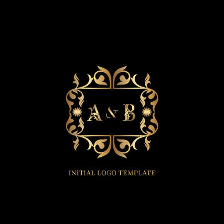 Golden AB Initial logo. Frame emblem ampersand deco ornament monogram luxury logo template for wedding or more luxuries identity Vettoriali