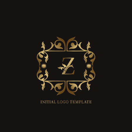 Golden Z Initial logo. Frame emblem ampersand deco ornament monogram luxury logo template for wedding or more luxuries identity