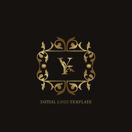 Golden Y Initial logo. Frame emblem ampersand deco ornament monogram luxury logo template for wedding or more luxuries identity