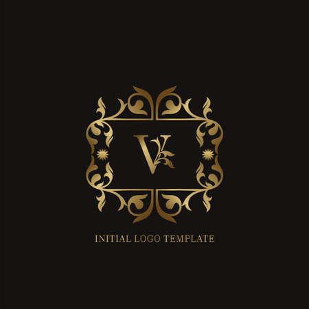 Golden V Initial logo. Frame emblem ampersand deco ornament monogram luxury logo template for wedding or more luxuries identity