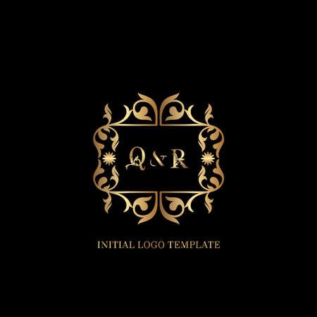 Golden QR Initial logo. Frame emblem ampersand deco ornament monogram luxury logo template for wedding or more luxuries identity