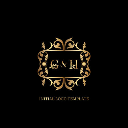 Golden GH Initial logo. Frame emblem ampersand deco ornament monogram luxury logo template for wedding or more luxuries identity Vettoriali