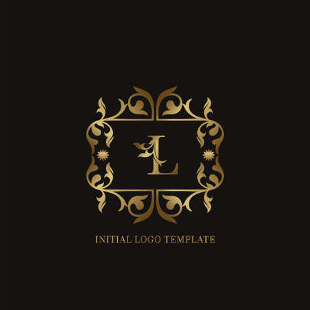 Golden L Initial logo. Frame emblem ampersand deco ornament monogram luxury logo template for wedding or more luxuries identity Vettoriali