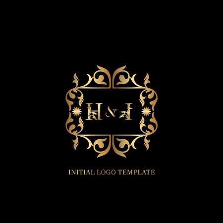 Golden HI Initial logo. Frame emblem ampersand deco ornament monogram luxury logo template for wedding or more luxuries identity Vettoriali