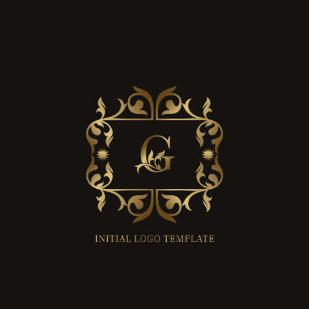 Golden G Initial logo. Frame emblem ampersand deco ornament monogram luxury logo template for wedding or more luxuries identity