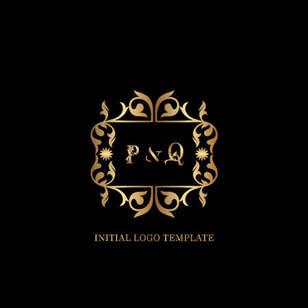 Golden PQ Initial logo. Frame emblem ampersand deco ornament monogram luxury logo template for wedding or more luxuries identity