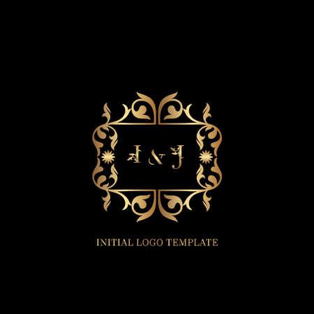 Golden IJ Initial logo. Frame emblem ampersand deco ornament monogram luxury logo template for wedding or more luxuries identity