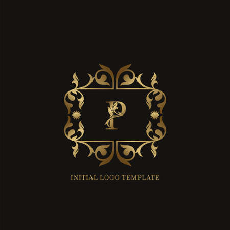 Golden P Initial logo. Frame emblem ampersand deco ornament monogram luxury logo template for wedding or more luxuries identity