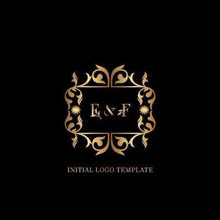 Golden EF Initial logo. Frame emblem ampersand deco ornament monogram luxury logo template for wedding or more luxuries identity