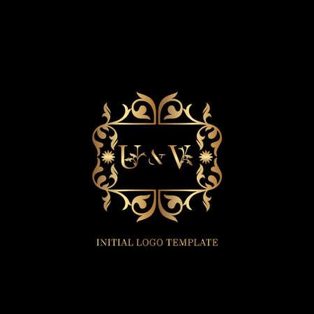 Golden UV Initial logo. Frame emblem ampersand deco ornament monogram luxury logo template for wedding or more luxuries identity Vettoriali