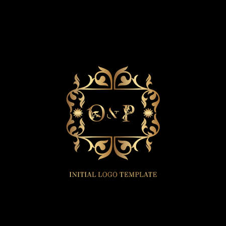 Golden OP Initial logo. Frame emblem ampersand deco ornament monogram luxury logo template for wedding or more luxuries identity