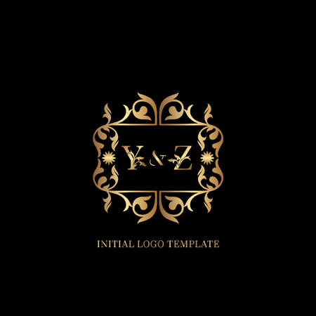 Golden YZ Initial logo. Frame emblem ampersand deco ornament monogram luxury logo template for wedding or more luxuries identity