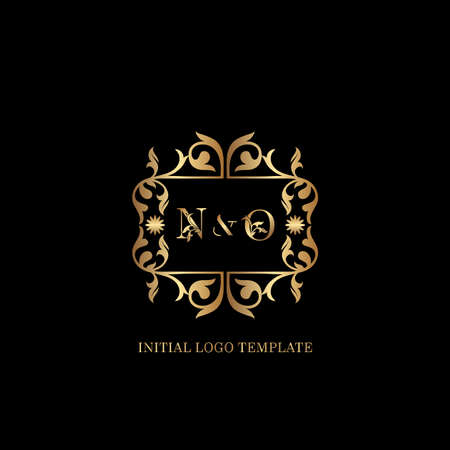 Golden NO Initial logo. Frame emblem ampersand deco ornament monogram luxury logo template for wedding or more luxuries identity