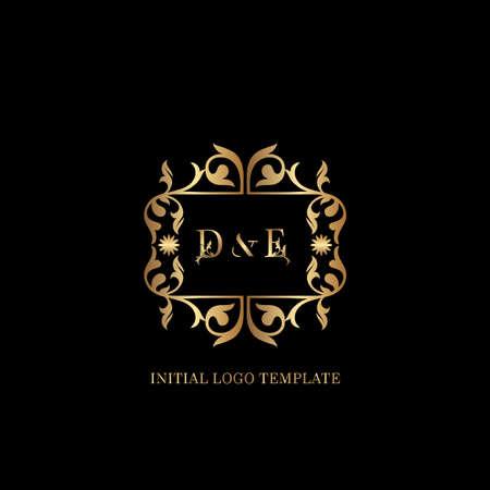 Golden DE Initial logo. Frame emblem ampersand deco ornament monogram luxury logo template for wedding or more luxuries identity Vettoriali