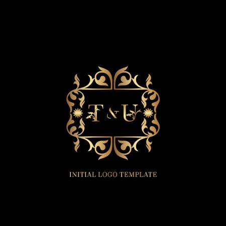 Golden TU Initial logo. Frame emblem ampersand deco ornament monogram luxury logo template for wedding or more luxuries identity
