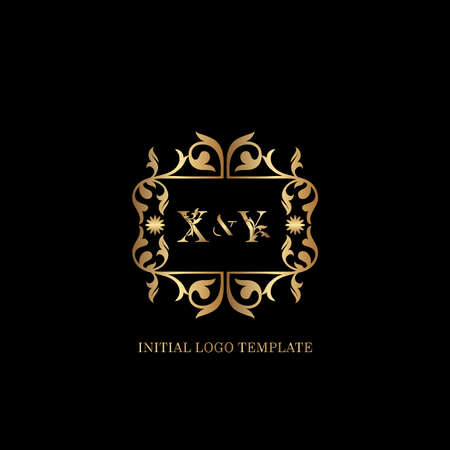 Golden XY Initial logo. Frame emblem ampersand deco ornament monogram luxury logo template for wedding or more luxuries identity