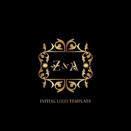Golden ZA Initial logo. Frame emblem ampersand deco ornament monogram luxury logo template for wedding or more luxuries identity