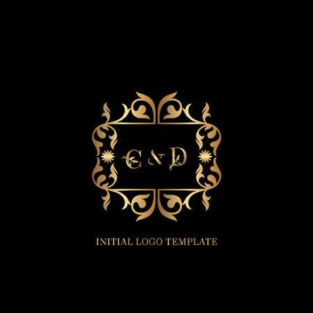 Golden CD Initial logo. Frame emblem ampersand deco ornament monogram luxury logo template for wedding or more luxuries identity Vettoriali