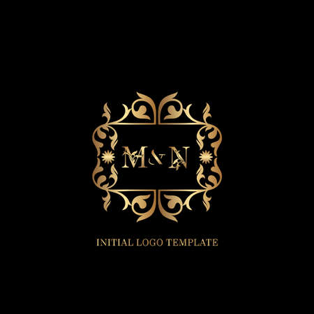 Golden MN Initial logo. Frame emblem ampersand deco ornament monogram luxury logo template for wedding or more luxuries identity Vettoriali