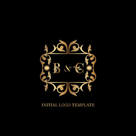 Golden BC Initial logo. Frame emblem ampersand deco ornament monogram luxury logo template for wedding or more luxuries identity