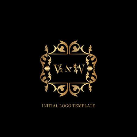 Golden WV Initial logo. Frame emblem ampersand deco ornament monogram luxury logo template for wedding or more luxuries identity Vettoriali