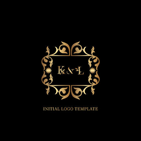 Golden KL Initial logo. Frame emblem ampersand deco ornament monogram luxury logo template for wedding or more luxuries identity