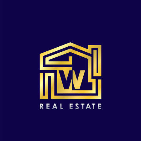 Golden W Line House Logo Design for Building Real Estate Business Identity Logo Icon.