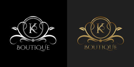 Luxury Logo Letter K Template Vector Circle for Restaurant, Royalty, Boutique, Cafe, Hotel, Heraldic, Jewelry, Fashion